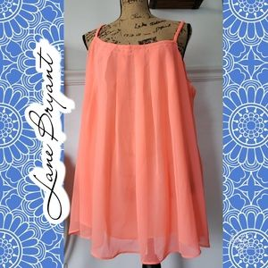 EUC Lane Bryant tank neon orange summer sheer